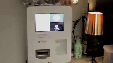 A Bit Coin Machine In A Singapore Co-working Space 2 stock footage