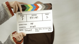 Friar clapperboard take scene defocused Footage