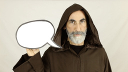 Friar holding white speech balloon showing Footage