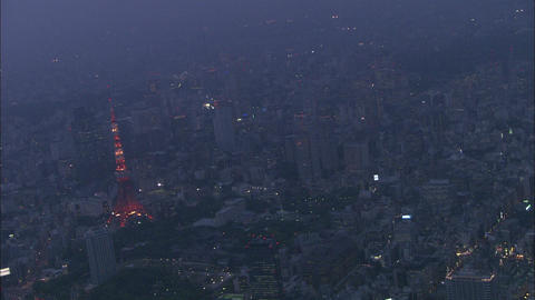 Tokyo Aerial Night 03 stock footage
