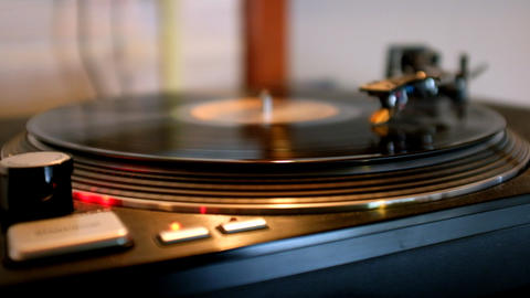 Record playing on turntable Footage