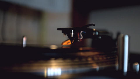 Turntable With Spinning Vinyl Footage