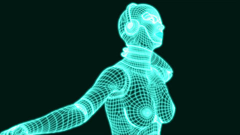 Dancing Matrix Robot Girl Animation