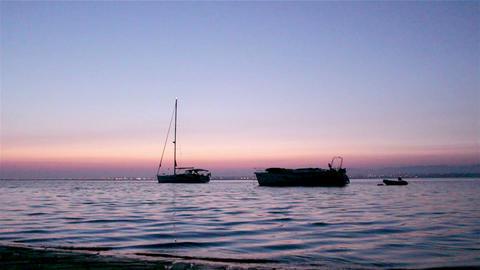 Ria Formosa Dawn Boat Silhouette A stock footage