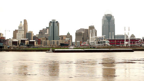Flooded River Flows Barge Passing Cincinnati Ohio Downtown Footage
