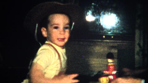 (8mm Vintage) Cowboy Hat Child - Christmas 1957 Footage