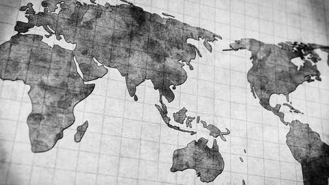 Vintage World Map Loopable Panning Animation 4k (4096x2304) stock footage