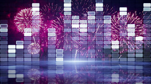 Equalizer And Firework Loopable Animation 4k (4096x2304) stock footage
