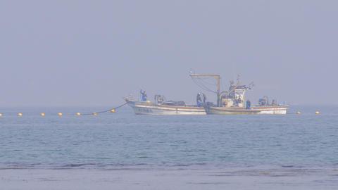 Fishing boat in Amaharashi coast,Toyama,Japan Footage