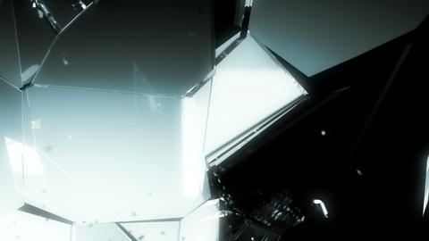 4K glass shattered and destructed with slow motion on black Animation