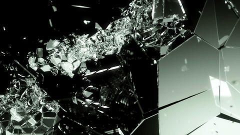 glass shattered and broken with slow motion on black Animation