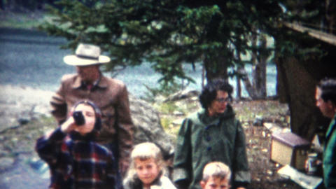 (8mm Film) Outdoor Mountain Picnic Cookout 1955 Footage
