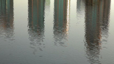 dubai skyscrapers reflect in the water Footage
