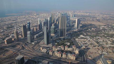 View From Burj Khalifa Out On Dubai, United Arab Emirates stock footage