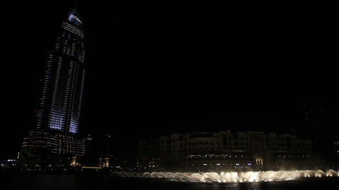 night Dubai fountain near Burj Khalifa, United Arab Emirates Footage