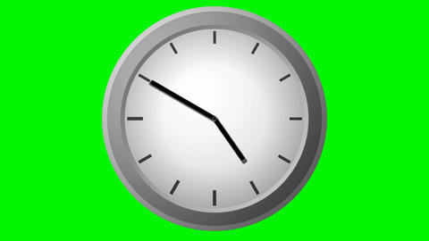 Clock countdown Time Lapse on green Animation