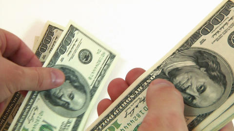Man Counting New Dollars stock footage