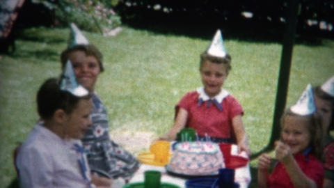 (8mm Film) Birthday Party Kids Laughing Hard 1955 Footage
