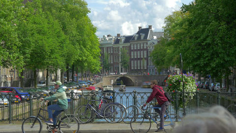 Canal in Amsterdam, Holland, 4k UHD Footage
