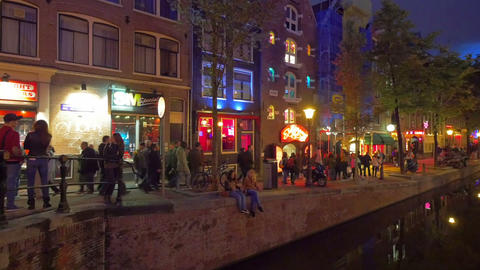 Red Light District, Amsterdam, Holland stock footage