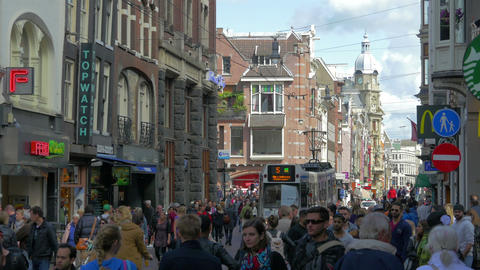 Crowds of people on Amsterdam street, Holland, 4k UHD Footage