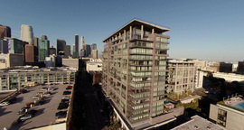 Flying In The Heart Of Down Town stock footage