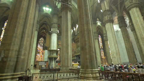 Inside of Milan Cathedral (Duomo), Italy Footage