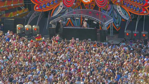 Audience at outdoor music festival Footage