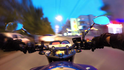 Riding A Motorcycle In A City, Timelapse stock footage
