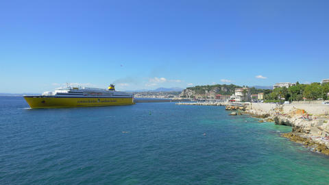 Ferry in port of Nice, France, 4k, UHD Footage