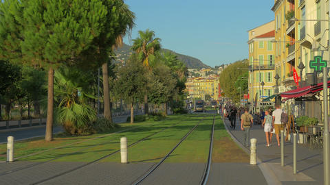 Public tram at Nice street, France, 4k, UHD Footage