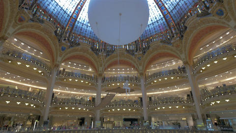 Galeries Lafayette Shopping Mall, Paris, France Footage