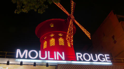 The Moulin Rouge at Night, Paris, 4k, UHD Footage
