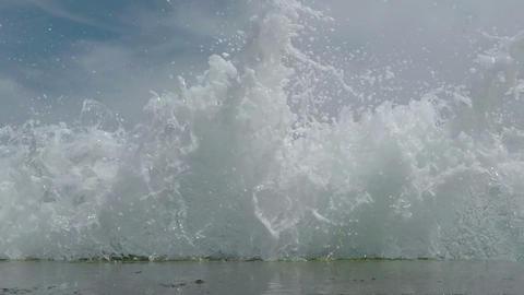 Waves Breaking On The Breakwater stock footage