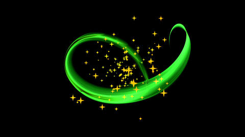 Festive Background With Stars, Green Stream , Circular Motion Animation