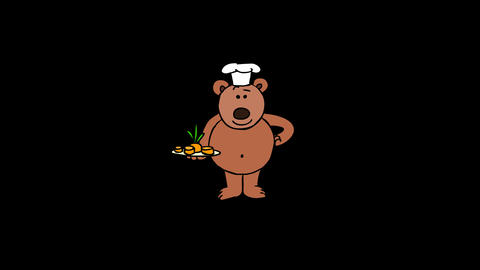 Teddy Bear Chef, With Alpha Channel stock footage