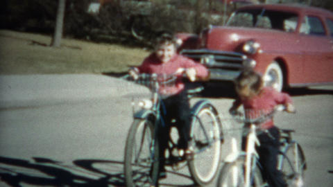 (8mm Film) Kids Riding Bikes 1956 Footage