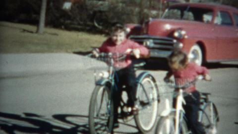 (8mm Film) Kids Riding Bikes 1956 Footage
