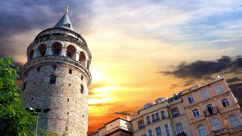 Galata Tower, Istanbul, Turkey Footage