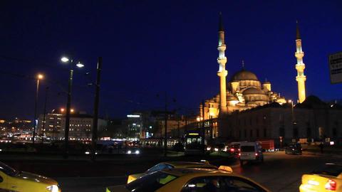 Street Traffic at Eminonu Square in Istanbul, Turkey Footage