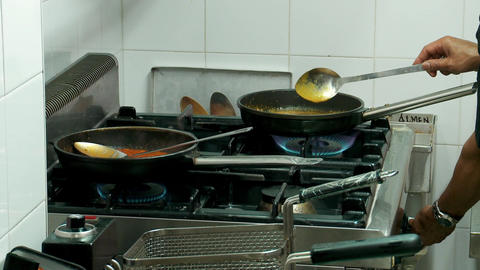 chef prepares sauces Footage
