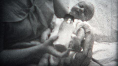 (8mm Film) Baby Falling Asleep While Eating 1949 Footage
