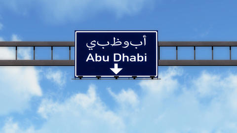 4K Passing Abu Dhabi UAE Highway Road Sign with Matte 2 stylized Animation
