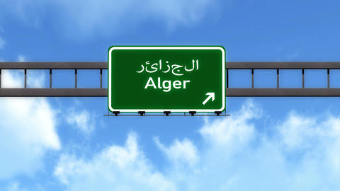 4K Passing Alger Algeria Highway Road Sign with Matte 2 stylized Animation