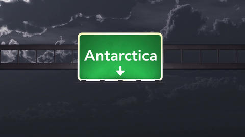 4K Passing Antarctica Highway Sign at Night with Matte 1 neutral Animation