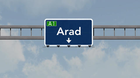 4K Passing Arad Romania Highway Road Sign With Matte 1 Neutral stock footage