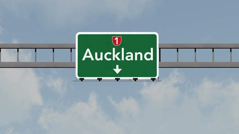 4K Passing Auckland New Zealand Highway Road Sign with Matte 1 neutral Animation