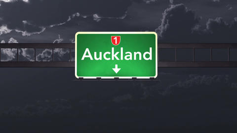 4K Passing Auckland New Zealand Highway Sign at Night with Matte 1 neutral Animation