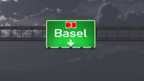 4K Passing Basel Switzerland Highway Road Sign at Night with Matte 1 neutral Animation