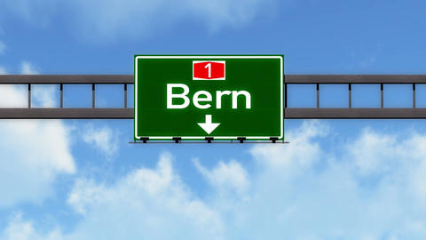 4K Passing Bern Switzerland Highway Road Sign with Matte 2 stylized Animation